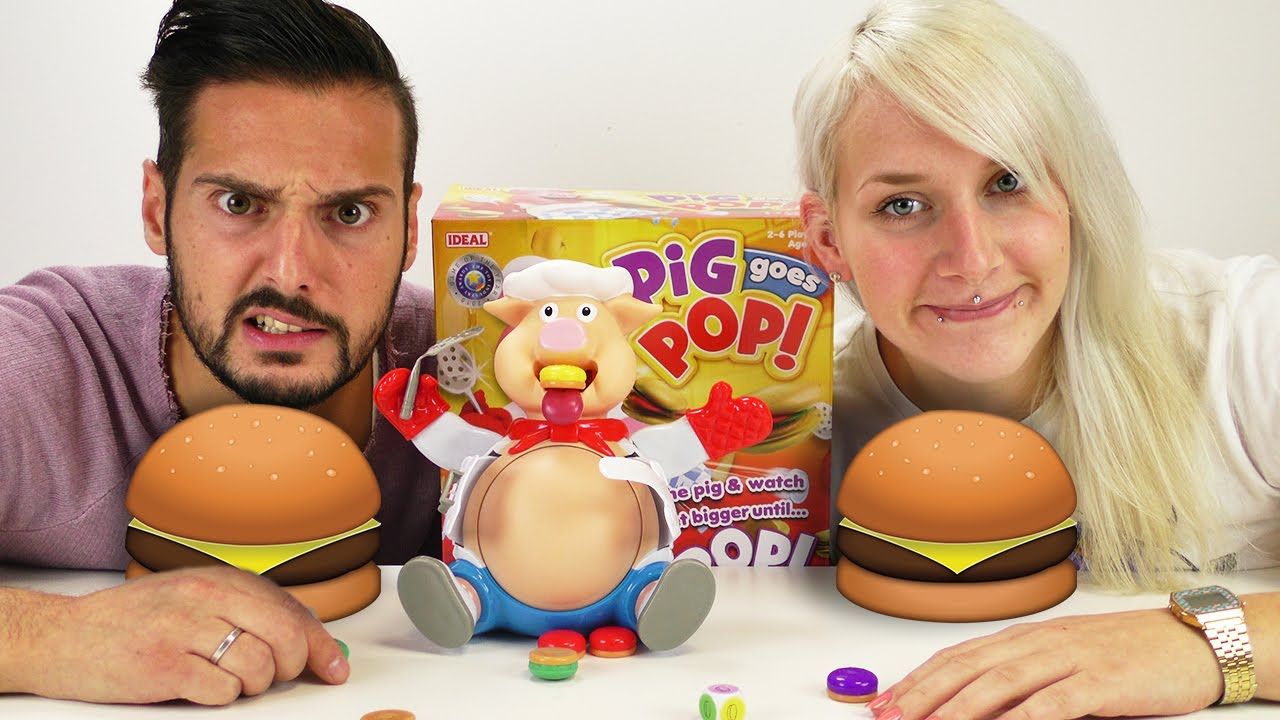 PIG GOES POP! Nina und Kaan füttern das Schwein bis es platzt! - All you can eat Hamburger